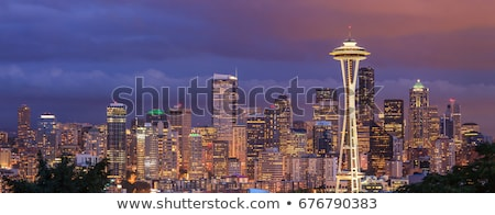 Skyline · Seattle · detaillierte · Illustration · Washington · Raum - stock foto © unkreatives