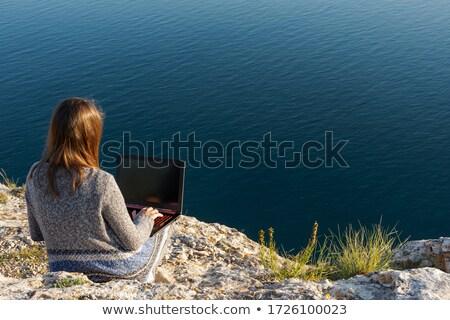 kadın · sandalye · dizüstü · bilgisayar · güzel · bir · kadın - stok fotoğraf © smithore