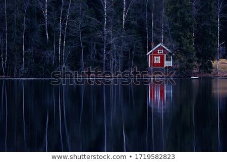old wood cabin blue lake stock photo © bobkeenan