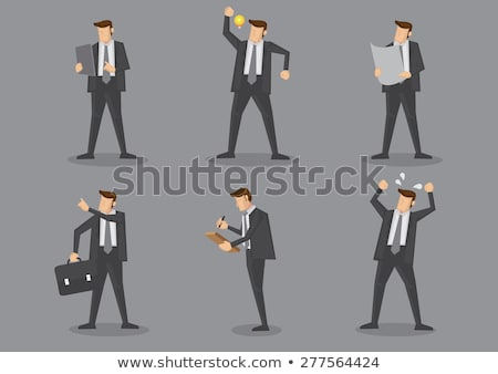 businessman character with gray board Stock photo © goryhater