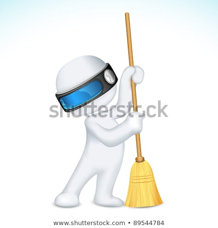 3d Scalable Man with Broom Stock photo © vectomart