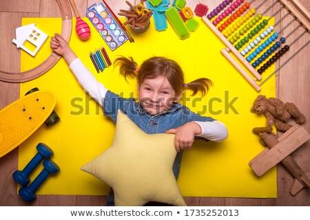 ребенка полу играет головоломки девушки древесины Сток-фото © photography33