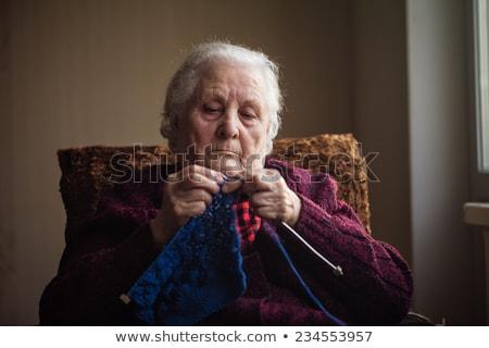 Oude dame gelukkig achtergrond bril Blauw Stockfoto © photography33