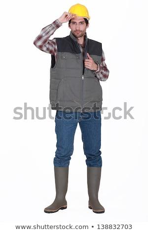Handlowiec człowiek tle niebieski komunikacji hat Zdjęcia stock © photography33