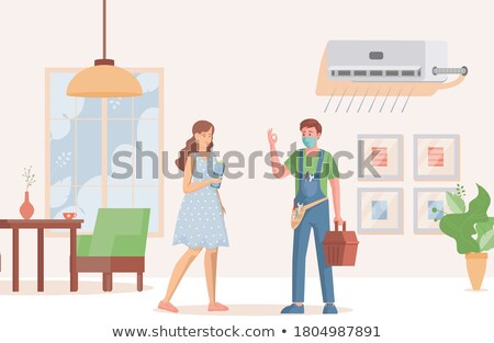 Man and woman repairing ventilation system Stock photo © photography33