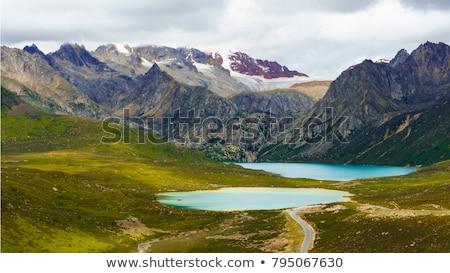 Foto stock: Paisagem · tibete · montanhas · rio · montanha · azul