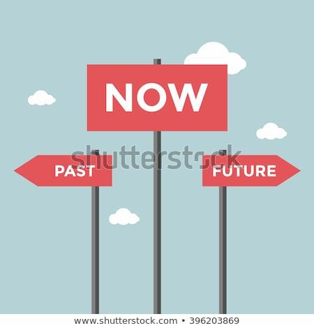 Geçmiş gelecek tahta kader ilerleme Stok fotoğraf © stuartmiles