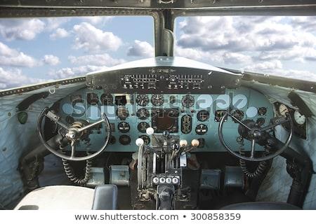 Starych samolot kabina pilota szczegół technologii okno Zdjęcia stock © Witthaya