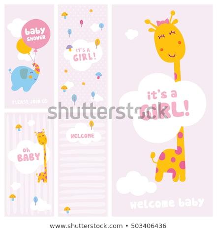 douche · kaart · cute · olifant · baby - stockfoto © balasoiu