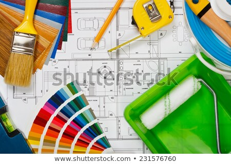 Anyagok otthon festék művészet űr szoba Stock fotó © photography33