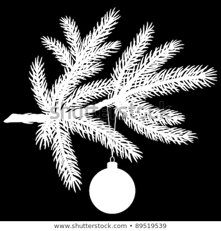Silhouette of Pine tree branch with Christmas ball Stock photo © fixer00