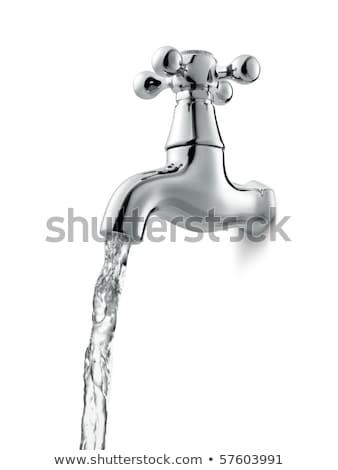 капли · воды · водопроводный · кран · падение · форме · синий · ванную - Сток-фото © ozaiachin
