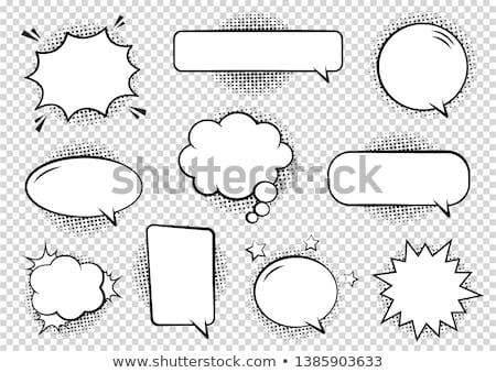 párbeszéd · képregény · sziluettek · szövegbuborékok · lány · férfi - stock fotó © jeremywhat