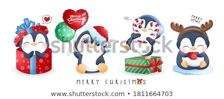 Noel penguen komik şapka Stok fotoğraf © pcanzo