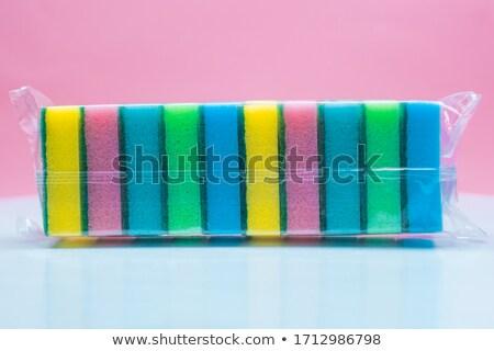 Rózsaszín szivacs edény szappan makró lövés Stock fotó © 350jb