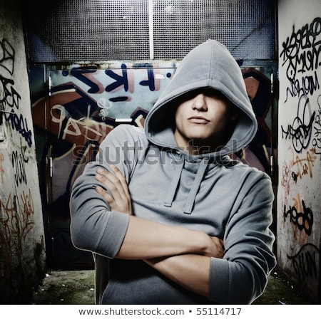 Rapper kijken graffiti meisje luisteren muziek Stockfoto © jarp17