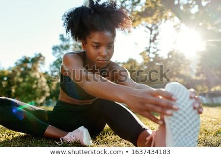 kadın · yoga · güzel · bir · kadın · gülen · kamera - stok fotoğraf © wavebreak_media