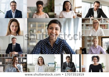 Foto stock: Mulher · de · negócios · trabalhando · virtual · interface · globalização · tecnologia