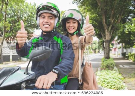 Man motorfiets hand fiets portret leder Stockfoto © photography33
