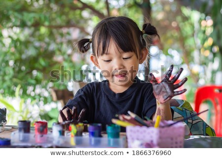 children messy dirty student watercolor table stock photo © lunamarina