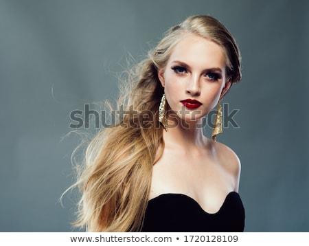 vector · meisje · gezicht · icon · lang · zwart · haar - stockfoto © essl