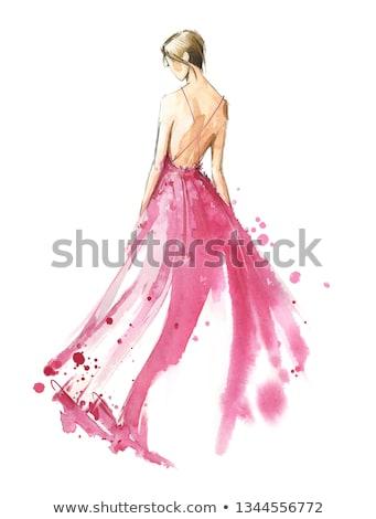 rajz · lány · gyönyörű · este · hosszú · ruha - stock fotó © Glenofobiya