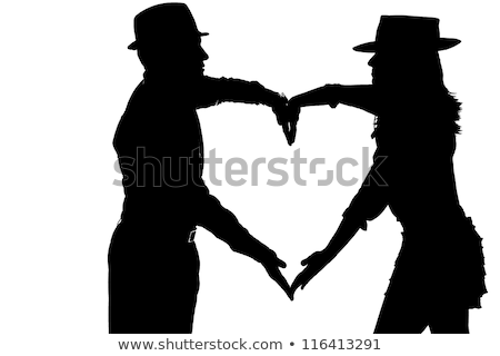 couple silouette photography forming a heart Stock photo © pxhidalgo