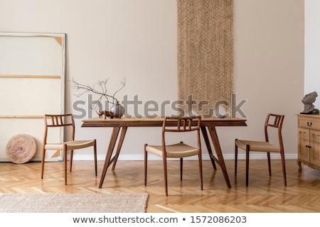 столовой стульев пару покрытый синий стены Сток-фото © trgowanlock