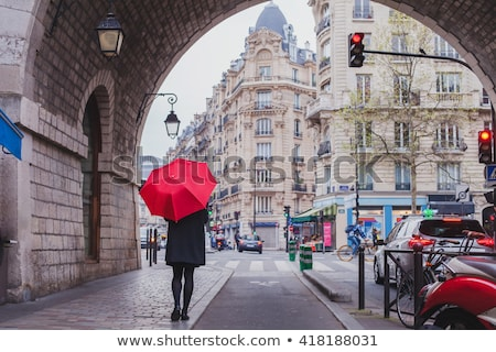 Woman at winter day with red umbrella Stock photo © vetdoctor