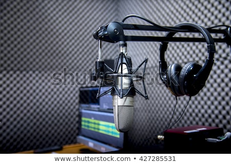 vintage microphone in sound record room Stock photo © tungphoto