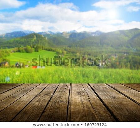 Vuota legno deck tavola nubi prodotto Foto d'archivio © stevanovicigor
