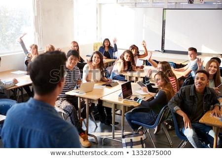 tanár · beszél · osztály · áll · tábla · iskola - stock fotó © monkey_business