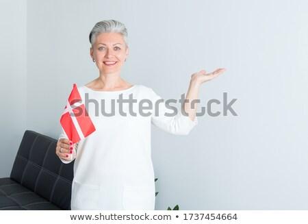 Danimarka · bayrak · 3d · render · yansıma - stok fotoğraf © compuinfoto