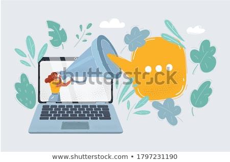 mujer · de · negocios · megáfono · negocios · oficina · mujer - foto stock © dolgachov