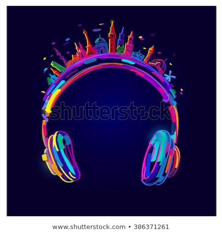 Czerwony słuchawki ilustracja czerwone światło światła czarny Zdjęcia stock © ankarb
