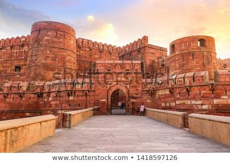 砦 家 赤 アーキテクチャ 塔 石の壁 ストックフォト © prill