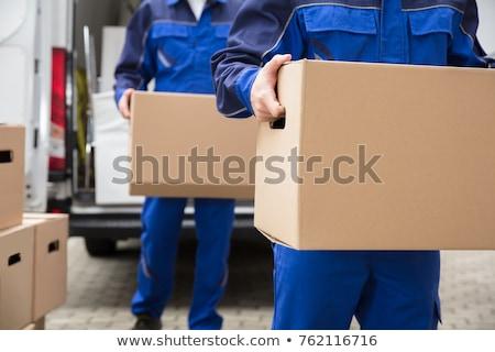 férfi · költözködő · dobozok · szabadtér · üzlet · fű · tájkép - stock fotó © gemenacom