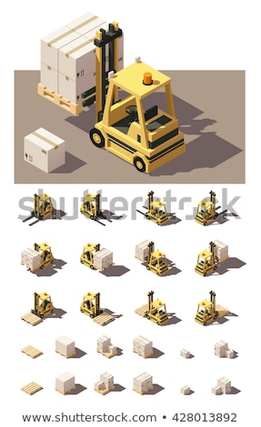 camion · carton · cases · bleu · jaune · entrepôt - photo stock © tashatuvango