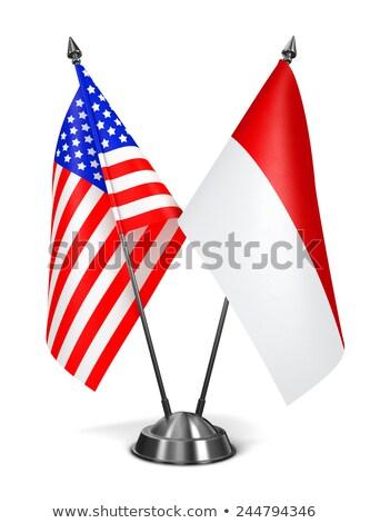 USA Indonézia miniatűr zászlók izolált fehér Stock fotó © tashatuvango