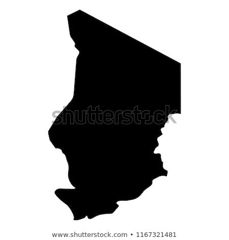 Sziluett térkép Csád felirat fehér felirat Stock fotó © mayboro