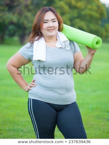Bella grasso donna lavoro fuori asian Foto d'archivio © Witthaya