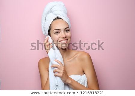 bastante · jovem · extático · feminino · toalha · cabeça - foto stock © stryjek