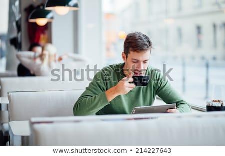 zakenman · drinken · koffie · buitenshuis · portret · knap - stockfoto © hasloo