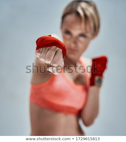 Blond Woman Wearing White Bra Posing in Studio Stock photo © stryjek