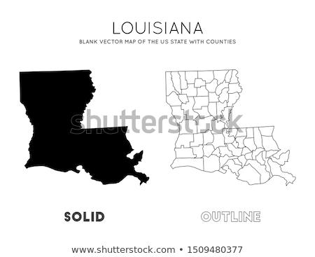 Kaart Louisiana Blauw reizen amerika USA Stockfoto © rbiedermann
