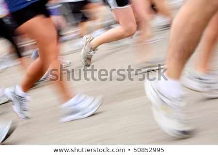 Stockfoto: Marathon In Camera Motion Blur