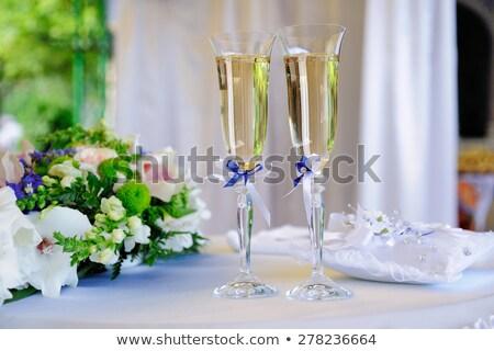 Stockfoto: Bruiloften · bril · champagne · boeket · twee · partij