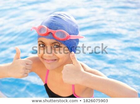 девушки победу знак Бассейн портрет Сток-фото © deandrobot