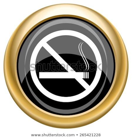 Dohányozni tilos felirat arany vektor ikon terv Stock fotó © rizwanali3d