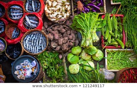 Fresh fishes in asian market Stock photo © smithore
